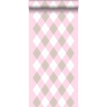 wallpaper rhombus motif baby pink from ESTA home