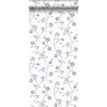 wallpaper toile de Jouy roses blue from ESTA home