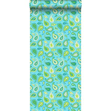 wallpaper paisleys turquoise and lime green from ESTA home