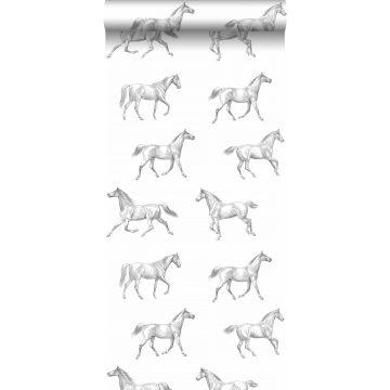 wallpaper pen drawing horses black on white from ESTA home