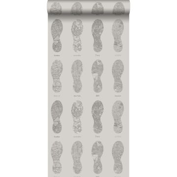 wallpaper marathon city maps in the form of running shoe imprints cervine from ESTA home