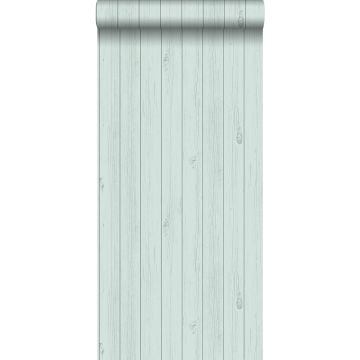 wallpaper wooden planks from reclaimed scrap wood mint green from ESTA home
