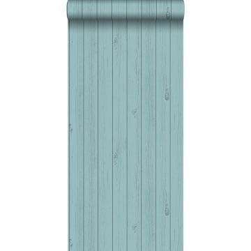 wallpaper wooden planks from reclaimed scrap wood grayish seagreen turquoise from ESTA home
