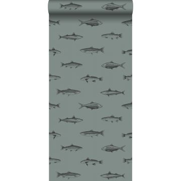wallpaper pen drawing fish grayish green and black from ESTA home