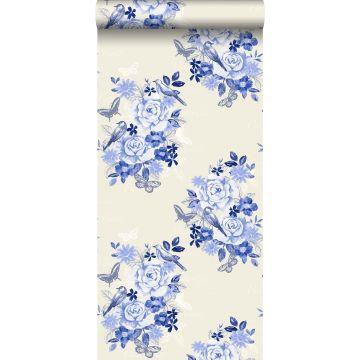 wallpaper flowers and birds indigo blue from ESTA home