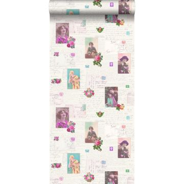 wallpaper vintage postcards pink and turquoise from ESTA home