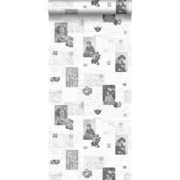 wallpaper vintage postcards black and white from ESTA home