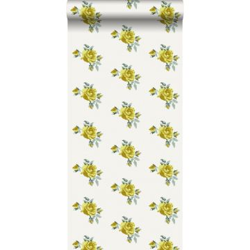 wallpaper embroidered little roses yellow from ESTA home