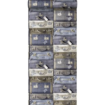 wallpaper vintage suitcases blue and brown from ESTA home