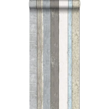 wallpaper wooden planks gray and light blue from ESTA home
