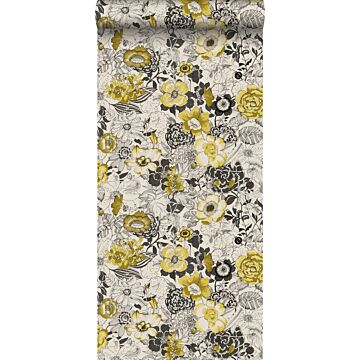 wallpaper flowers mustard and beige from ESTA home