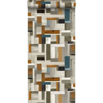 wallpaper scrap wood gray, brown and greyish blue from ESTA home