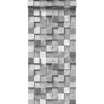 wallpaper 3D wood effect gray from ESTA home