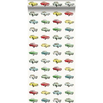wallpaper vintage cars red, yellow and green from ESTA home