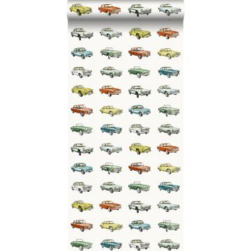wallpaper vintage cars orange, mustard and green from ESTA home