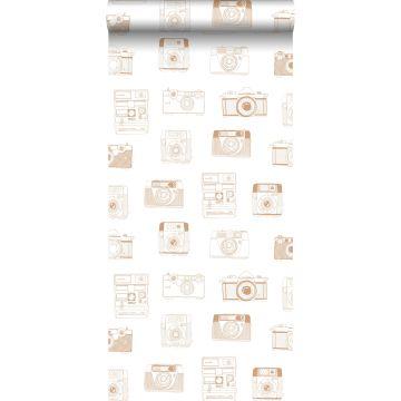 wallpaper polaroid cameras shiny copper brown from ESTA home