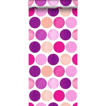 wallpaper large dots candy pink from ESTA home