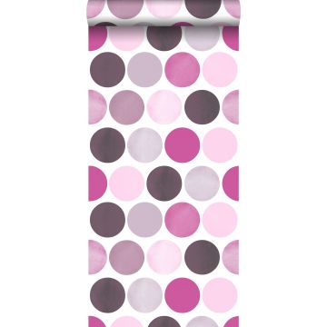 wallpaper large dots lilac purple from ESTA home