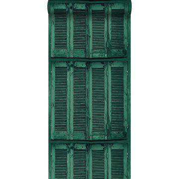 wallpaper weathered wooden French vintage louvre shutters emerald green from ESTA home