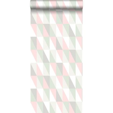 wallpaper graphical triangles light pink and mint green from ESTA home