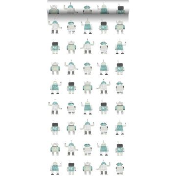 wallpaper drawn vintage toy robots mint green and blue from ESTA home