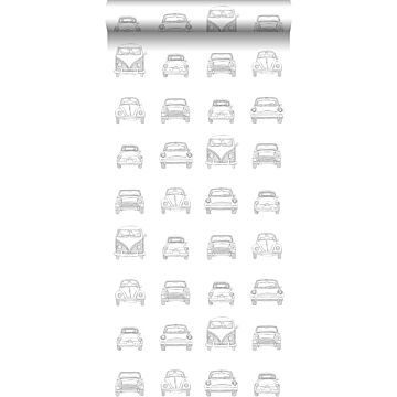 wallpaper drawn vintage cars black and white from ESTA home