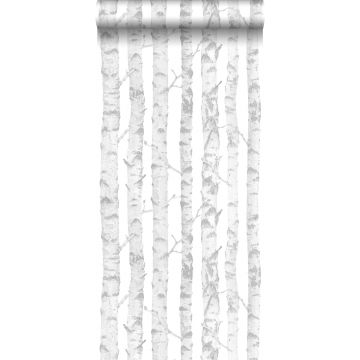 wallpaper birch trunks silver and white from ESTA home