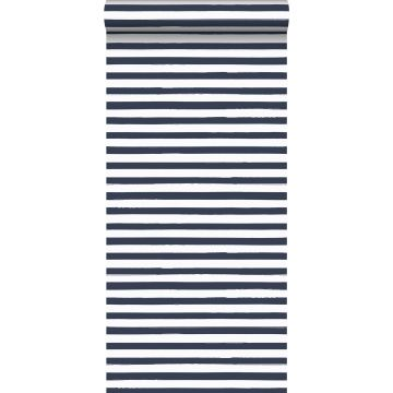 wallpaper painted stripes dark blue and white from ESTA home