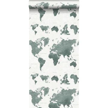 wallpaper vintage world maps grayish green from ESTA home