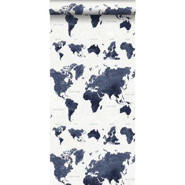 wallpaper vintage world maps dark blue from ESTA home