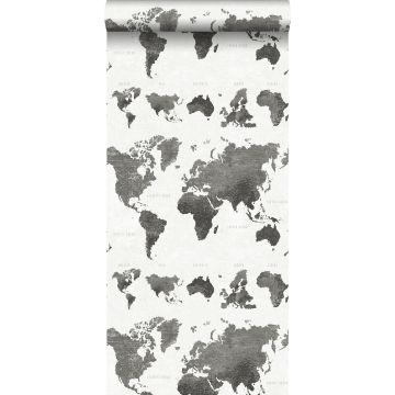 wallpaper vintage world maps dark gray from ESTA home