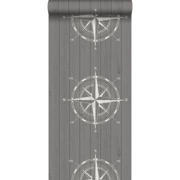 wallpaper compass rose on scrap wood white and gray from ESTA home