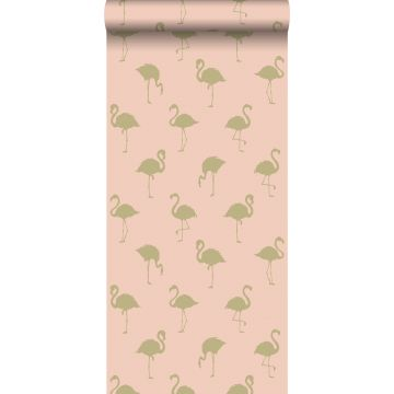 wallpaper flamingos gold and peach pink from ESTA home