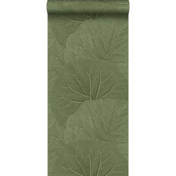 wallpaper large leaves greyed olive green from ESTA home