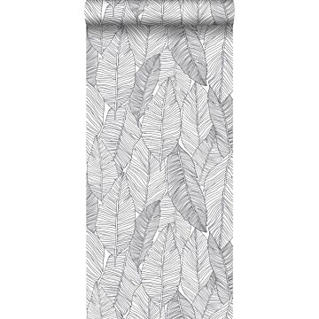 wallpaper pen drawn leaves black and white from ESTA home