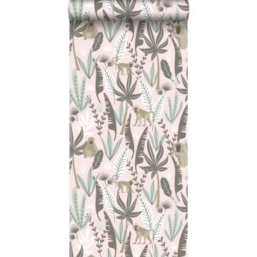 wallpaper monkeys soft pink and mint green from ESTA home