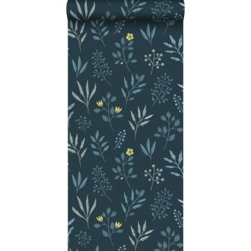 wallpaper floral pattern in Scandinavian style dark blue and mustard from ESTA home