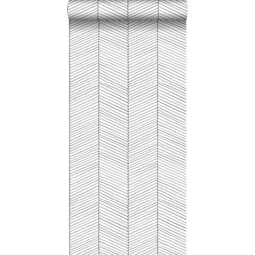 wallpaper herring bone pattern black and white from ESTA home