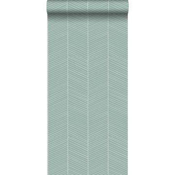 wallpaper herring bone pattern grayed mint green from ESTA home