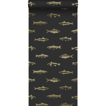 wallpaper pen drawing fish black and gold from ESTA home