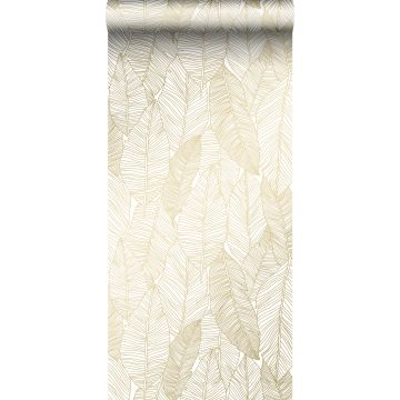 wallpaper pen drawn leaves white and gold from ESTA home