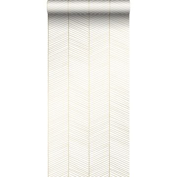 wallpaper herring bone pattern white and gold from ESTA home