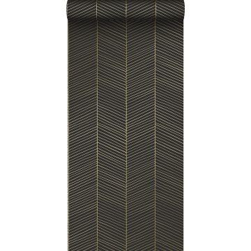 wallpaper herring bone pattern black and gold from ESTA home