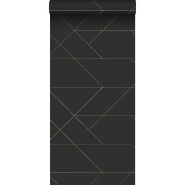 wallpaper graphic lines black and gold from ESTA home