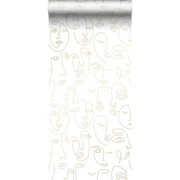 wallpaper faces white and light shiny gold from ESTA home