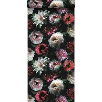 wallpaper flowers pink, black and dark green from ESTA home