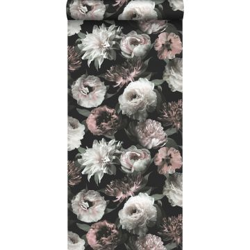 wallpaper flowers black, white and soft pink from ESTA home