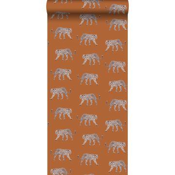 wallpaper panters warm orange from ESTA home