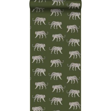 wallpaper panters greyed olive green from ESTA home
