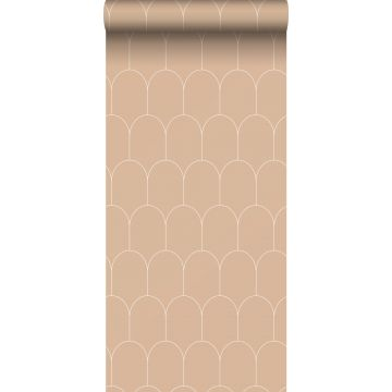wallpaper art deco motif peach pink and white from ESTA home